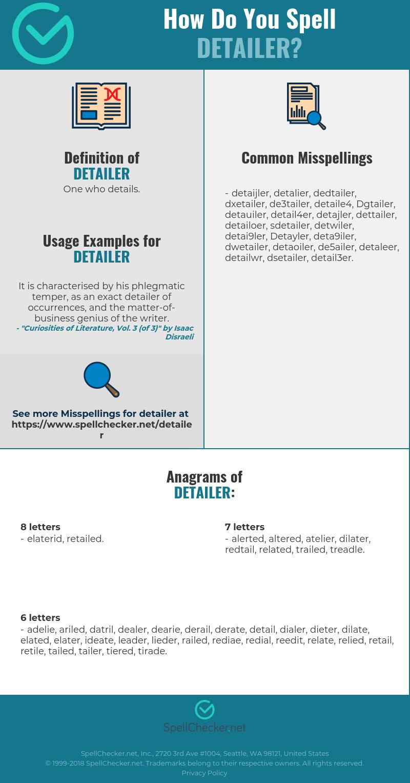 Correct spelling for Detailer [Infographic] | Spellchecker net