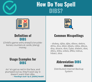Correct spelling for Dibs