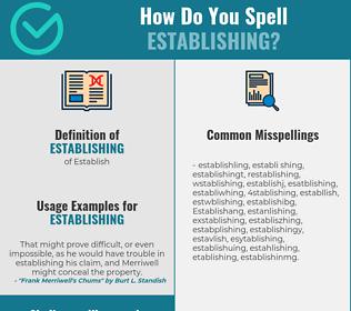 Correct spelling for Establishing