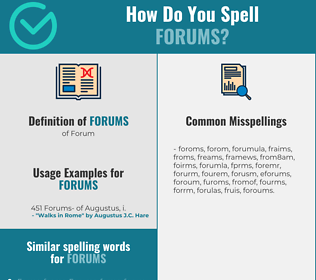 Correct spelling for Forums