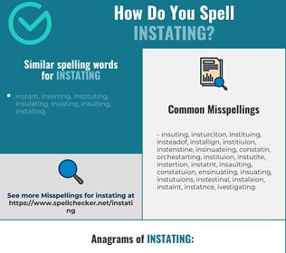 Correct spelling for Instating