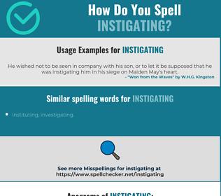 Correct spelling for Instigating