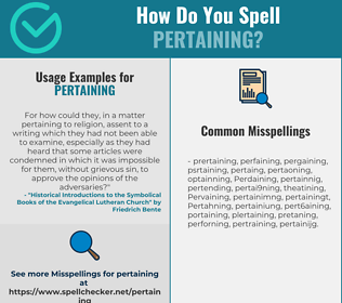 Correct spelling for Pertaining