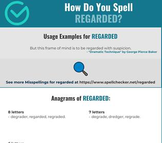 Correct spelling for Regarded