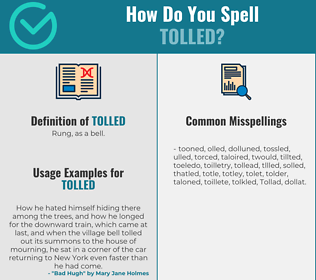 Correct spelling for Tolled