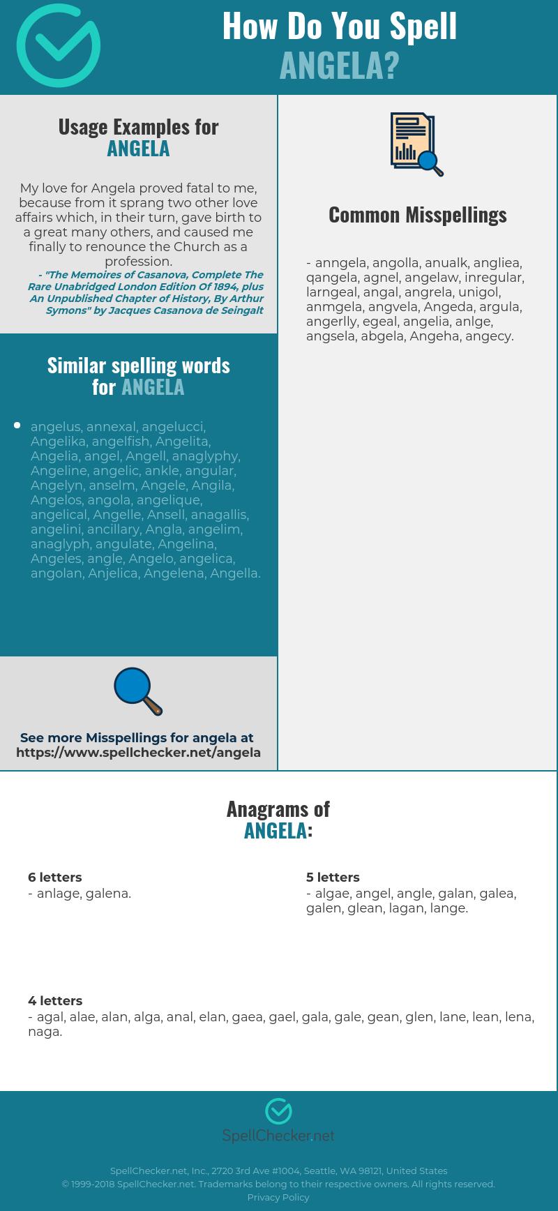 Correct spelling for Angela [Infographic] | Spellchecker net