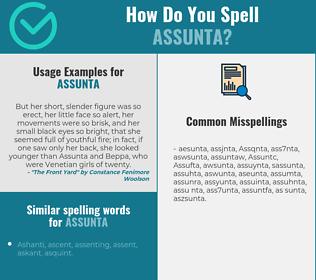Correct spelling for Assunta