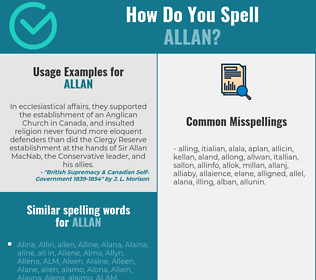 Correct spelling for Allan