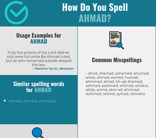 Correct spelling for Ahmad