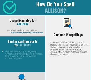 Correct spelling for Allison