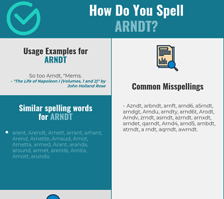 Correct spelling for Arndt
