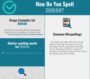 Correct spelling for Duran