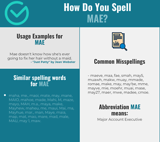 Correct spelling for Mae