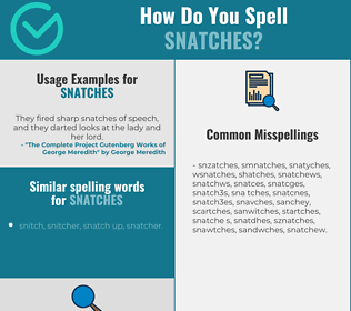 Correct spelling for snatches