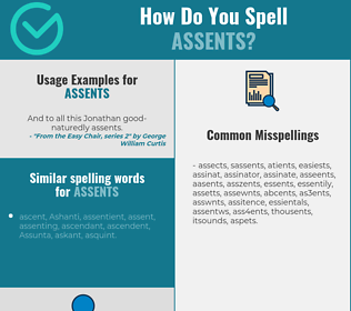 Correct spelling for assents