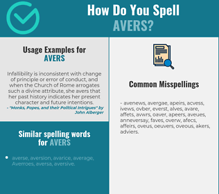 Correct spelling for avers