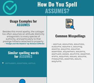 Correct spelling for assumes