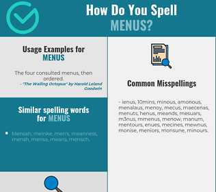 Correct spelling for menus