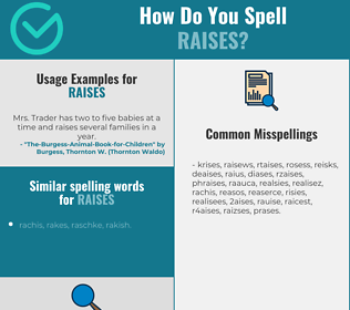 Correct spelling for raises