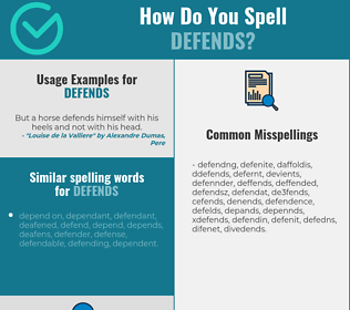 Correct spelling for defends