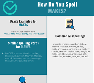 Correct spelling for makes
