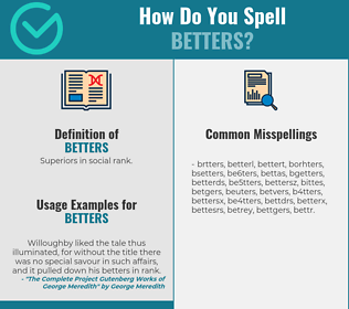 Correct spelling for betters