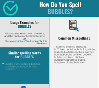 Correct spelling for bubbles