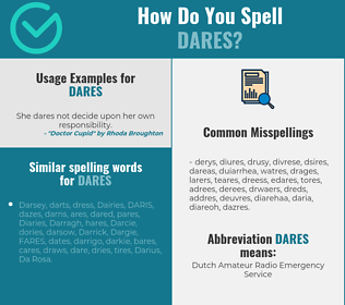 Correct spelling for dares