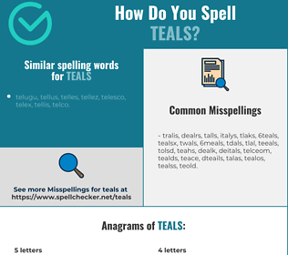 Correct spelling for teals