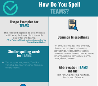 Correct spelling for teams