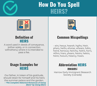 Correct spelling for heirs