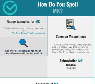 Correct spelling for MK