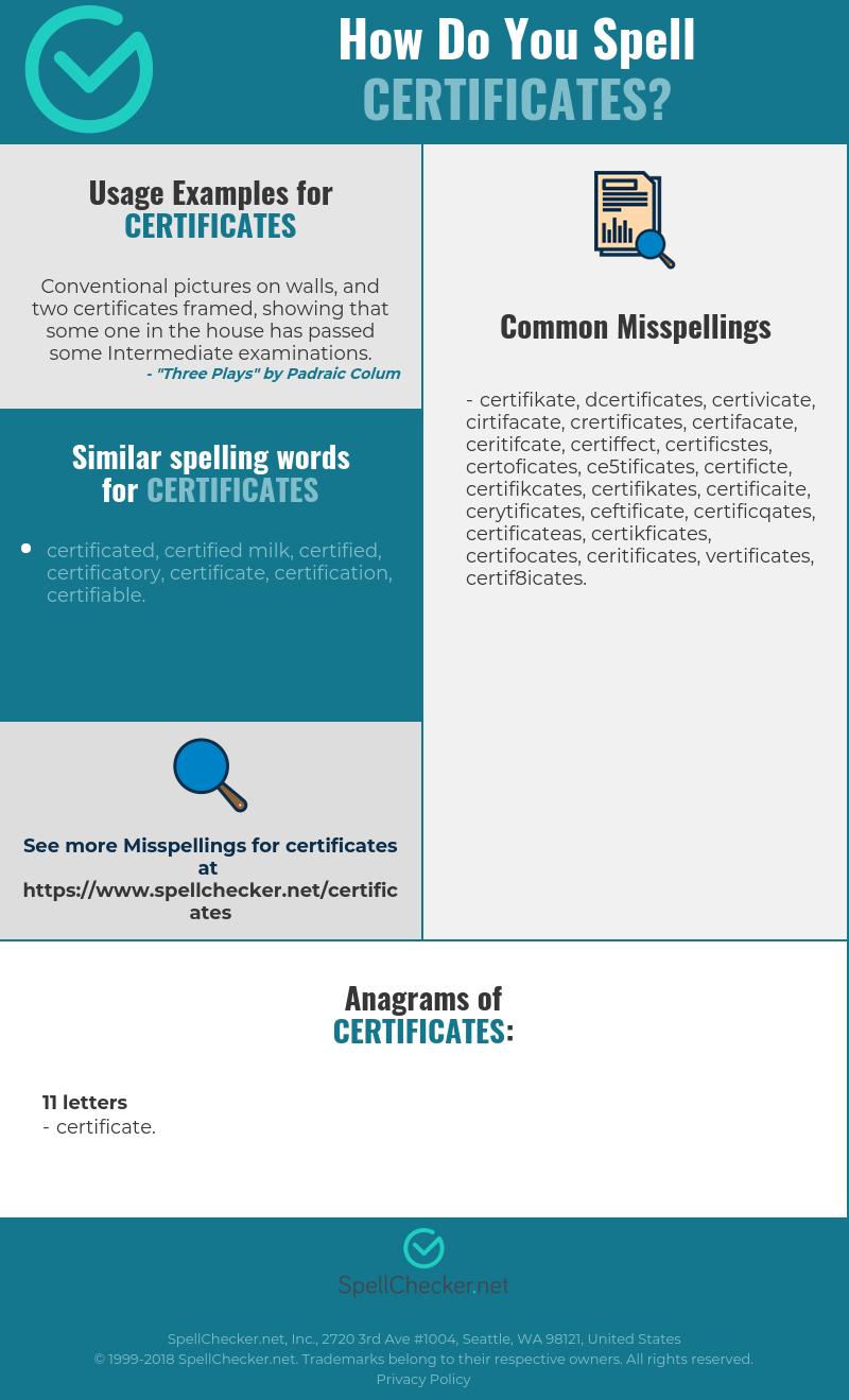 Correct Spelling For Certificates Spellchecker
