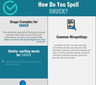 Correct spelling for snuck