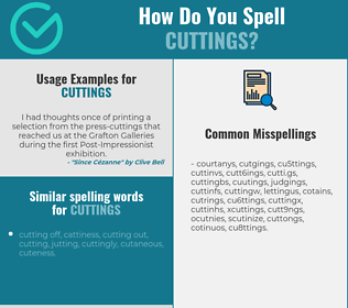 Correct spelling for cuttings