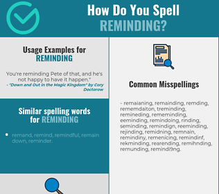 Correct spelling for reminding