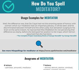 Correct spelling for meditator