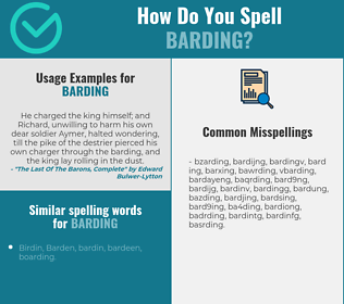 Correct spelling for barding