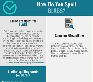 Correct spelling for blabs