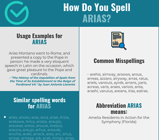 Correct spelling for arias