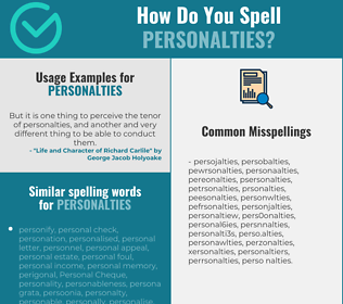 Correct spelling for personalties