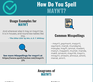Correct spelling for mayn't