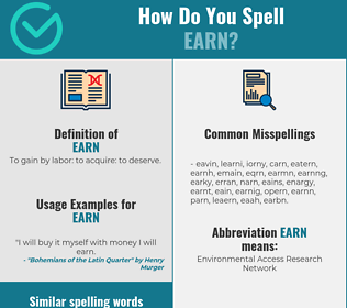 Correct spelling for earn