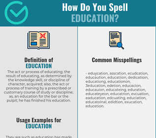Correct spelling for education