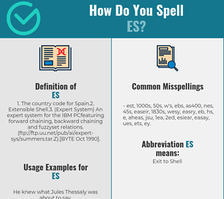 Correct spelling for es