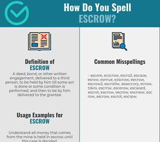 Correct spelling for escrow