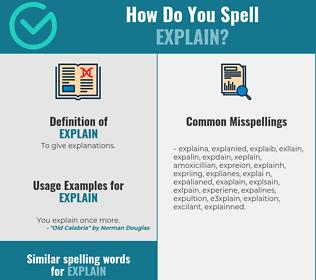 Correct spelling for explain