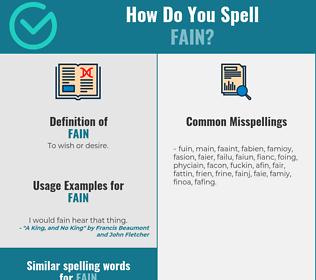 Correct spelling for fain