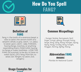 Correct spelling for fang