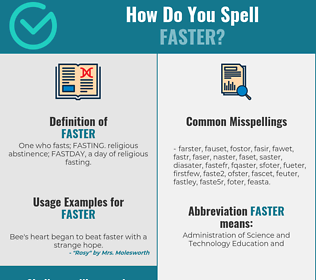 Correct spelling for faster